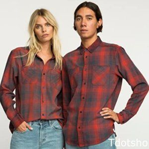 RVCA UNISEX Neutral Plaid Long-Sleeve Woven Shirt